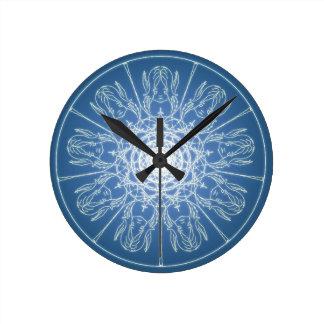 Water Elf Fairy Pentagram Wicca Pagan Spiral Snow Round Clock