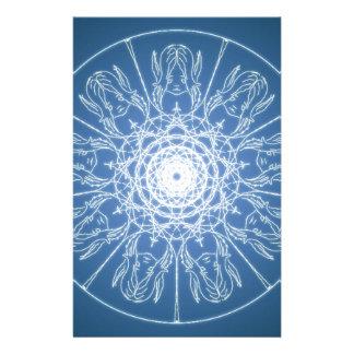 Water Elf Fairy Pentagram Wicca Pagan Spiral Snow Stationery
