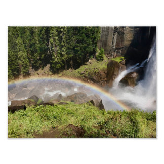 Water fall with rainbow in the Yosemite national Poster