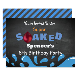 Water Fight Birthday Party Card