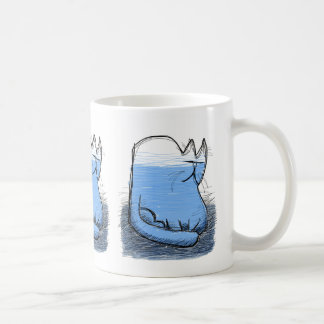 water - filled cat basic white mug