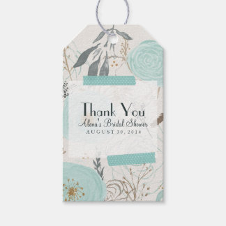 Water Floral Favor Tag, Turquoise Gift Tag, Pack Of Gift Tags