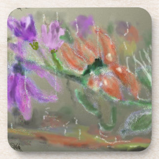 Water Flowers Abstract Drink Coasters