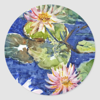 Water Garden in Watercolor Classic Round Sticker