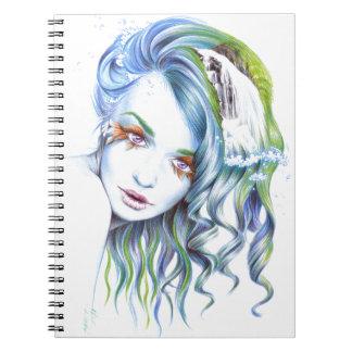 """Water"" girl surreal portrait Notebook"