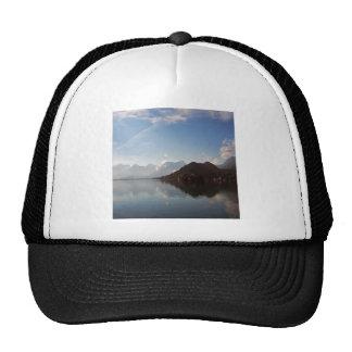 Water Haze Clouds Mountains Mesh Hat
