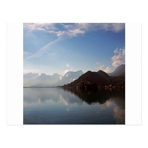 Water Haze Clouds Mountains Postcard