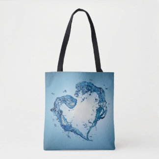 Water Heart Shape - All-Over-Print Tote Bag