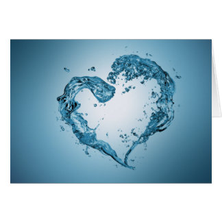Water Heart Shape - Greeting Card
