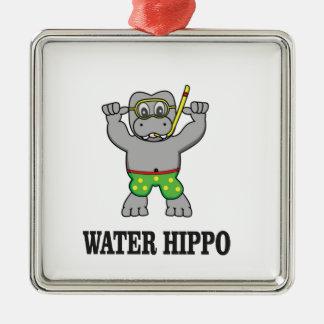 water hippo fun metal ornament