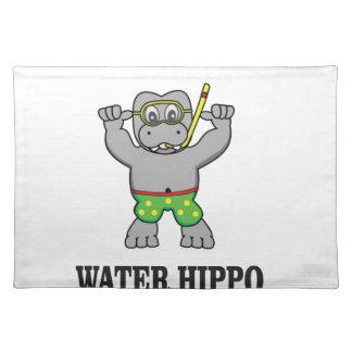 water hippo fun place mat