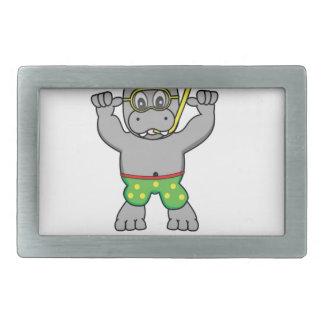 water hippo fun rectangular belt buckles