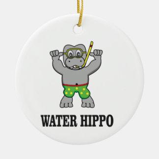 water hippo fun round ceramic ornament
