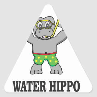 water hippo fun triangle sticker