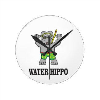 water hippo fun wall clock