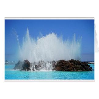 Water hitting rocks on canary islands card