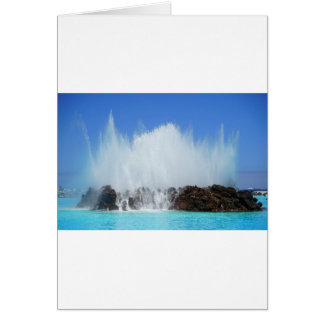 Water hitting rocks on canary islands card