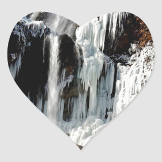 Water Ice Formation On Rocks Heart Sticker