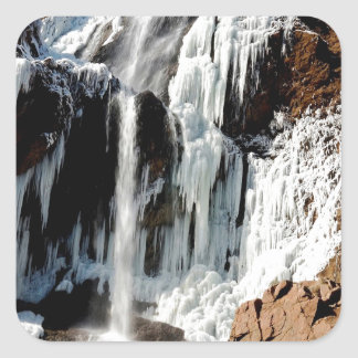 Water Ice Formation On Rocks Square Sticker