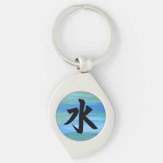 Water Japanese Kanji Symbol Silver-Colored Swirl Keychain