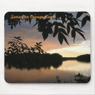 water leaves and fishermen, Sunset on Oswego Ri... Mouse Pad