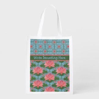 Water Lilies and Dragonflies Custom Shopping Bag Reusable Grocery Bag