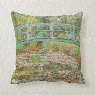 Water Lilies and Japanese Bridge Monet Fine Art Throw Pillow