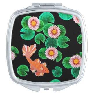 Water Lilies and Koi Fish Compact Mirror