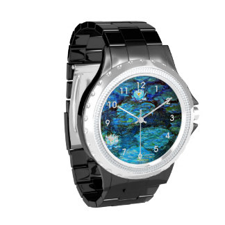 Water Lilies Blue, painting by Claude Monet Wristwatch