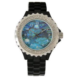 Water Lilies Blue, painting by Claude Monet Watches