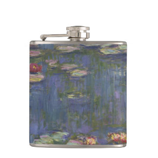 Water Lilies by Claude Monet Hip Flask