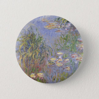 Water-Lilies, Cluster of Grass 2 Inch Round Button