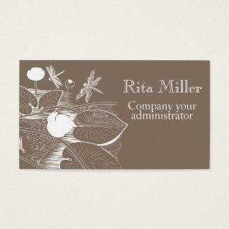 Water-lilies engraving business card