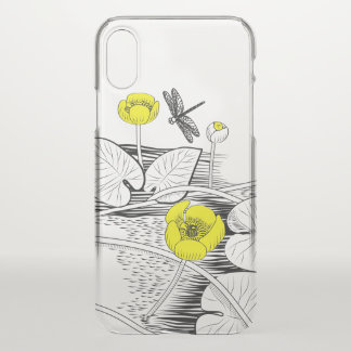Water-lilies engraving iPhone x case
