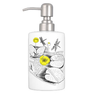 Water-lilies engraving soap dispenser and toothbrush holder
