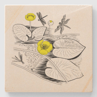 Water-lilies engraving stone coaster