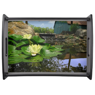 Water Lilies In Pond Serving Tray