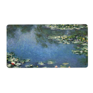 Water Lilies Monet Vintage Impressionism Flowers Shipping Label