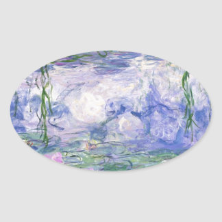 Water Lilies Painting Oval Sticker