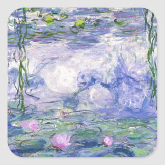 Water Lilies Painting Square Sticker