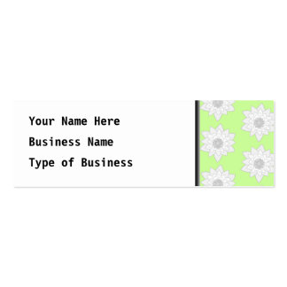 Water Lilies Pattern in Green, White and Gray. Mini Business Card