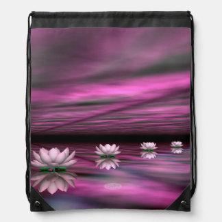 Water lilies steps the horizon - 3D render Drawstring Bag