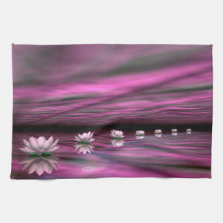 Water lilies steps the horizon - 3D render Kitchen Towel