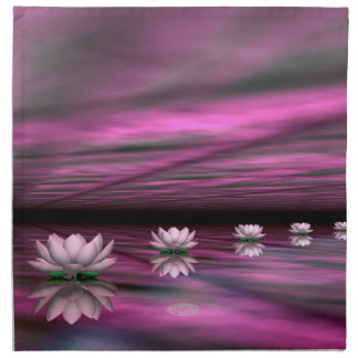 Water lilies steps the horizon - 3D render Napkin