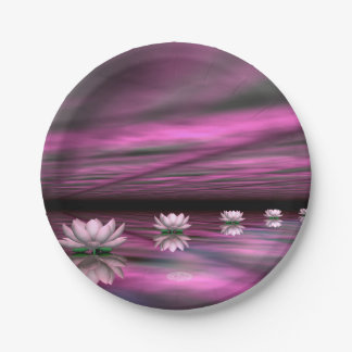 Water lilies steps the horizon - 3D render Paper Plate