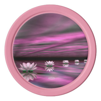 Water lilies steps the horizon - 3D render Poker Chips