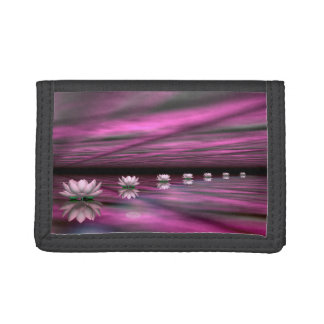 Water lilies steps the horizon - 3D render Tri-fold Wallets