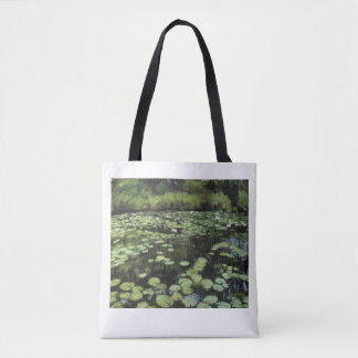 Water lillies print on tote bag