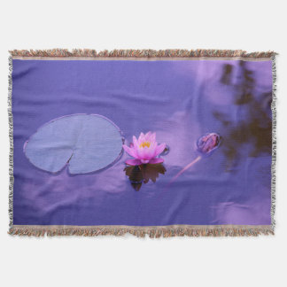 Water Lily at Dawn Throw Blanket