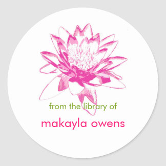 Water Lily Bookplates Classic Round Sticker